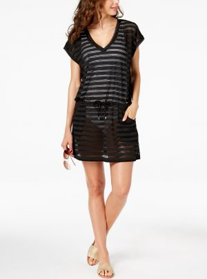 Open-Knit Striped Tunic Cover Up