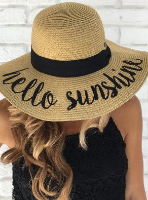 Embroidered Adjustable Beach Floppy Sun Hat